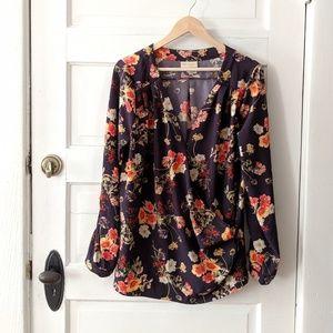 Modcloth black floral wrap blouse top XL